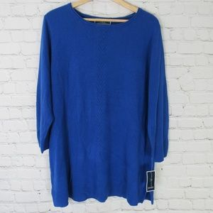 Karen Scott Sweater Womens 3X Blue Lux Crew